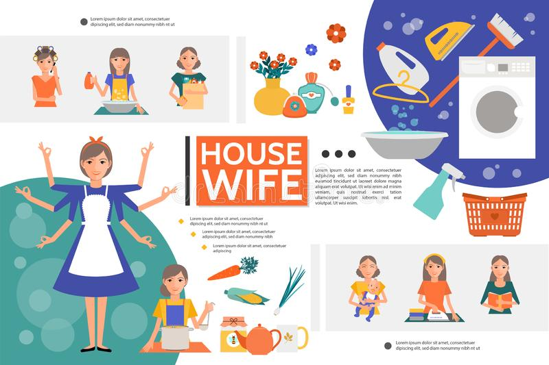 Flat Housewife Life Template. With woman doing different houseworks mother with baby iron washing machine broom vegetables kitchenware vector illustration royalty free illustration