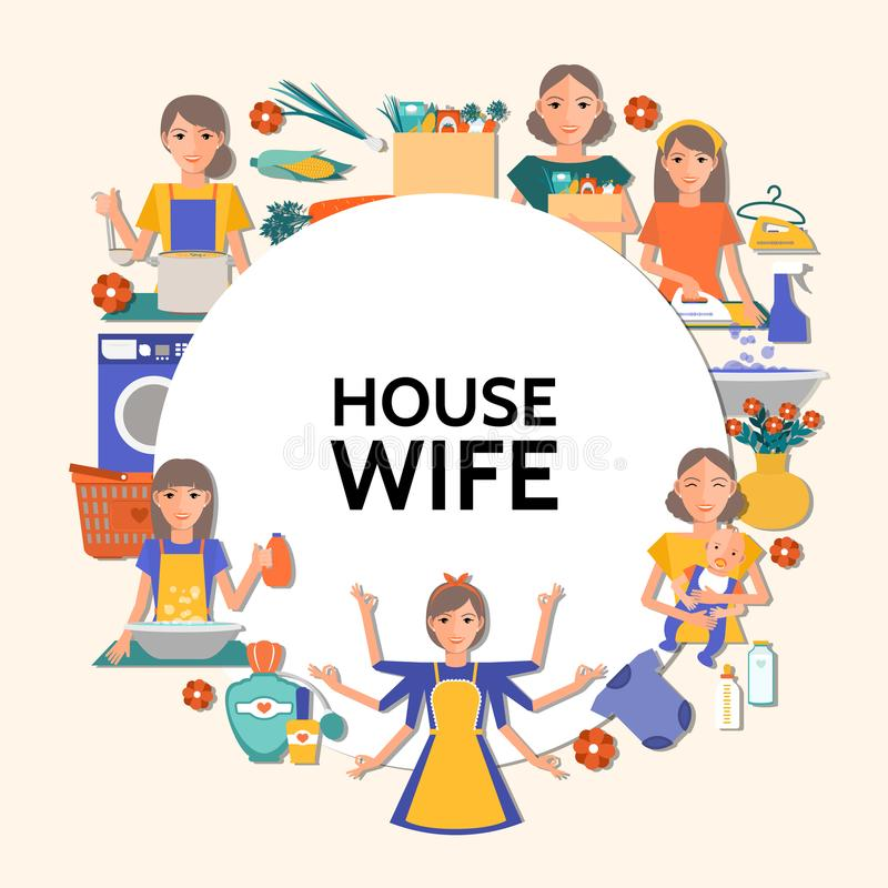 Flat Housewife Round Concept. With cleaning shopping ironing washing cooking affairs and mother with baby isolated vector illustration royalty free illustration