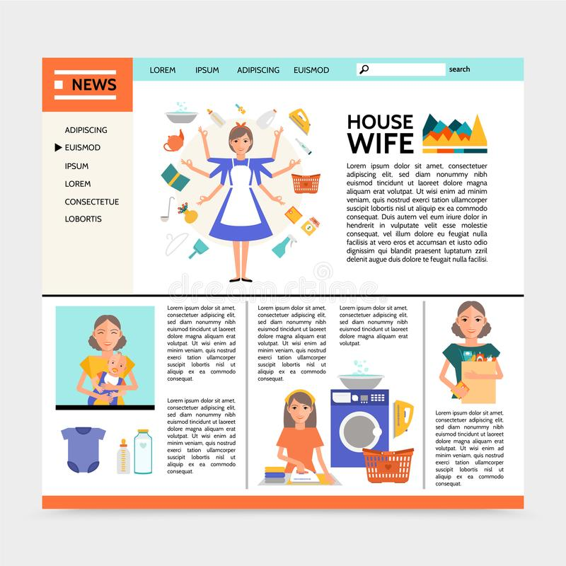 Flat Housewife Website Template. With super mom doing different household activities ironing shopping washing affairs and mother with baby vector illustration royalty free illustration