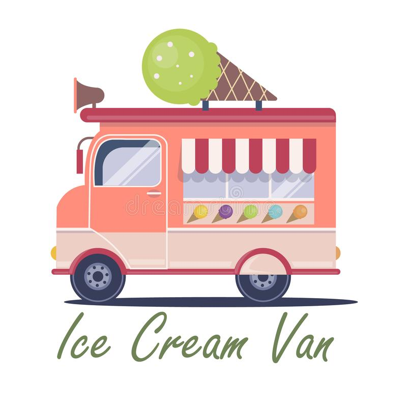 Flat ice cream van illustration royalty free stock photography