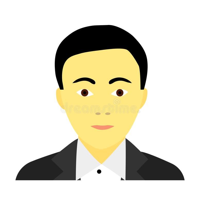 Flat icon of asian man in suit royalty free illustration