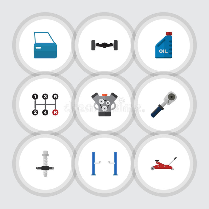 Flat Icon Auto Set Of Ratchet, Automobile Part, Muffler And Other Vector Objects. Also Includes Petrol, Manual. Flat Icon Auto Set Of Ratchet, Automobile Part vector illustration