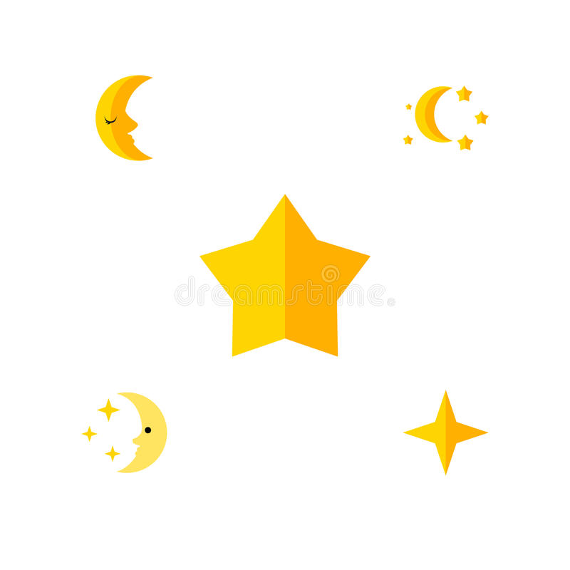 Flat Icon Bedtime Set Of Bedtime, Starlet, Star And Other Vector Objects. Also Includes Asterisk, Moon, Star Elements. stock illustration