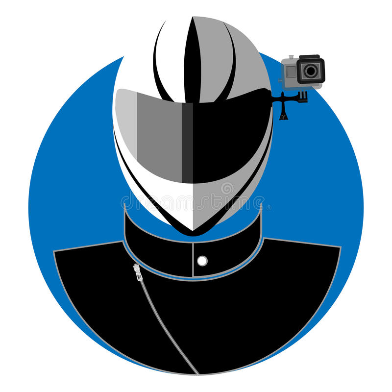 Flat icon of the biker stock illustration
