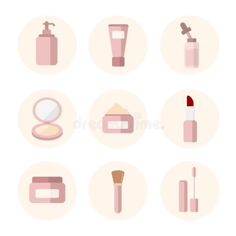 Flat icon bottle perfumes in pastel pink round shape background and shadow effect stock illustration