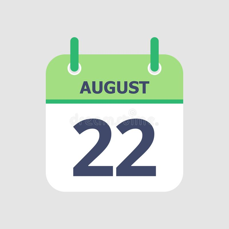 Calendar 22nd of August. Flat icon calendar 22nd of August isolated on gray background. Vector illustration royalty free illustration
