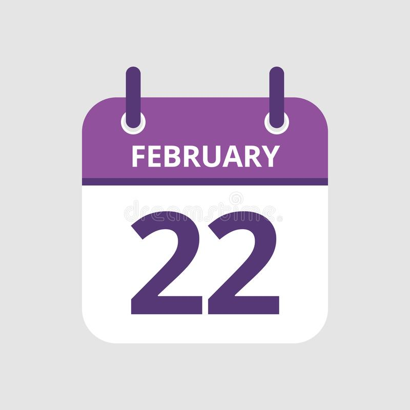 Calendar 22nd of February. Flat icon calendar 22nd of February isolated on gray background. Vector illustration vector illustration