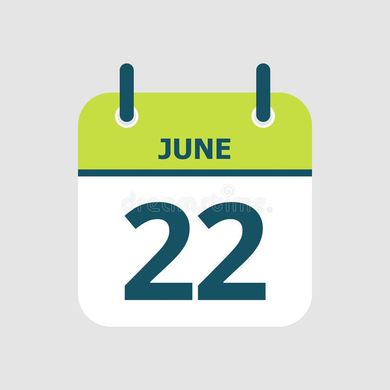Calendar 22nd of June. Flat icon calendar 22nd of June isolated on gray background. Vector illustration stock illustration