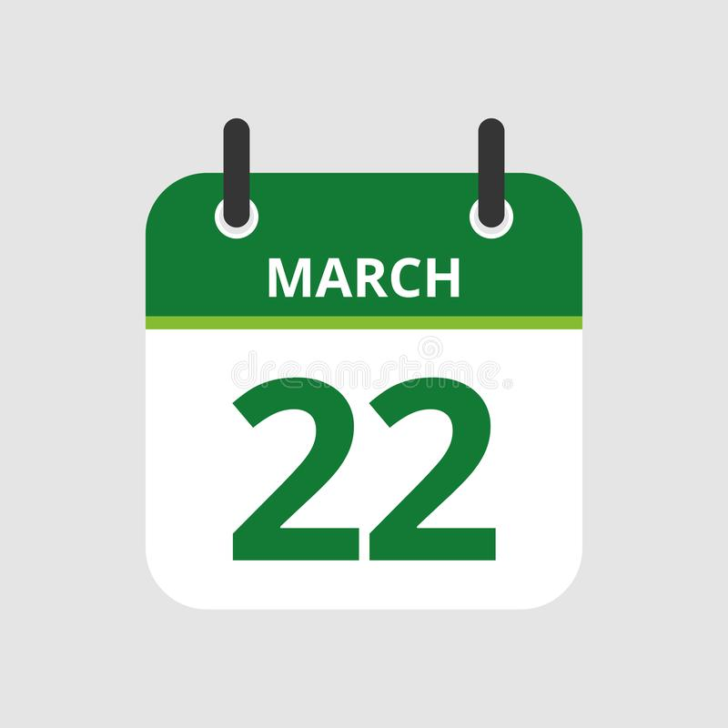Calendar 22nd of March. Flat icon calendar 22nd of March isolated on gray background. Vector illustration vector illustration