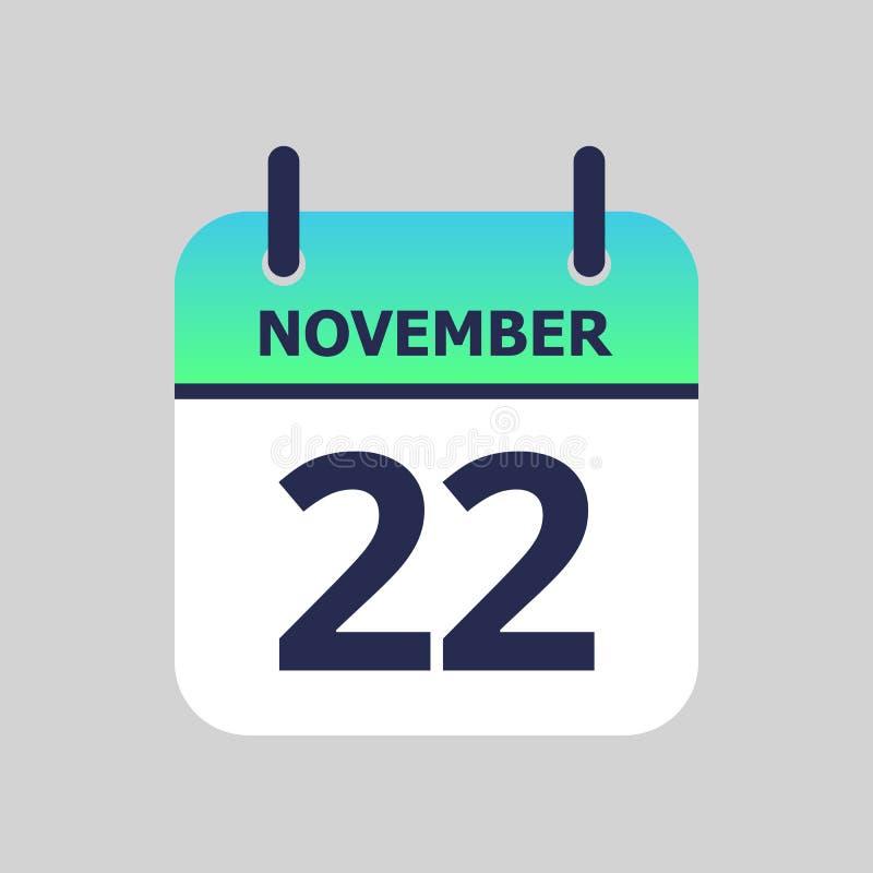 Calendar 22nd of November. Flat icon calendar 22nd of November isolated on gray background. Vector illustration royalty free illustration