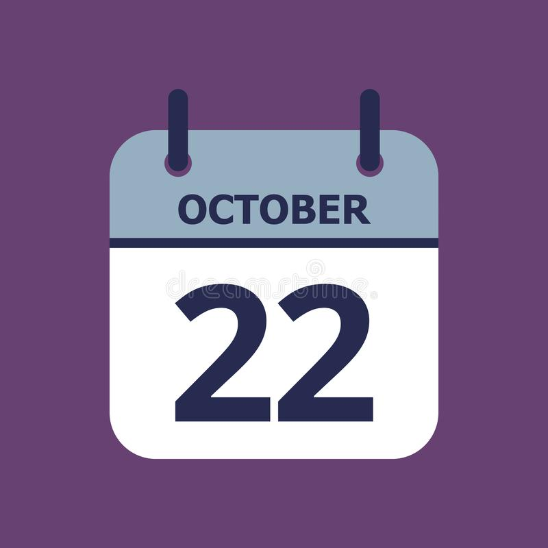 Calendar 22nd of October. Flat icon calendar 22nd of October isolated on purple background. Vector illustration vector illustration