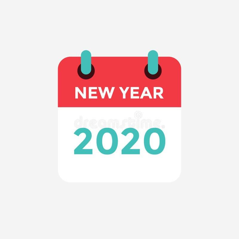 Flat icon calendar 2020. New Year. stock illustration