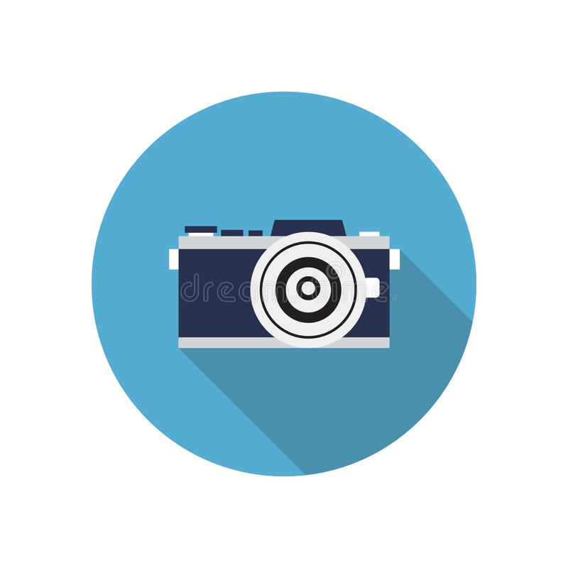 Flat icon for camera in circle background,vector illustrations stock illustration
