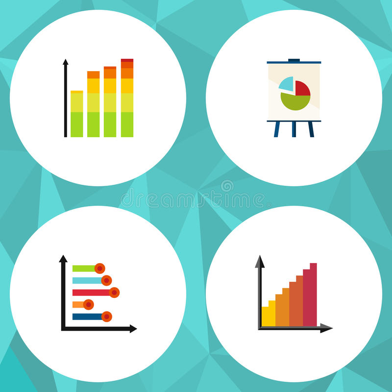 Flat Icon Chart Set Of Infographic, Statistic, Easel And Other Vector Objects. Also Includes Pie, Easel, Diagram stock illustration
