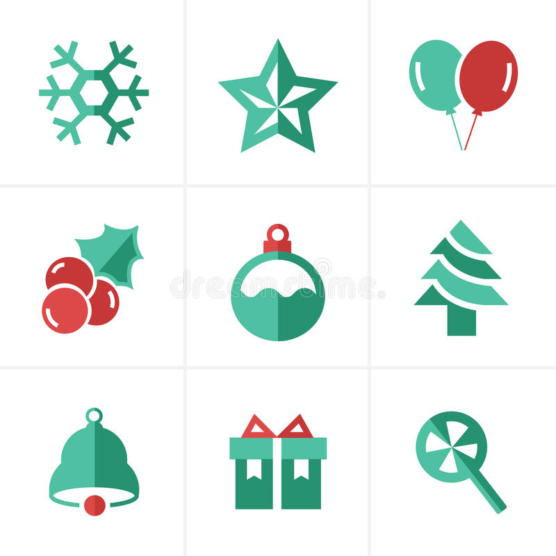 Flat icon Christmas Icons Set, Vector Design royalty free stock image