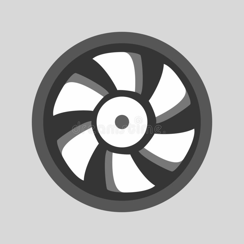 Computer cooler illustration. Flat icon of computer cpu fan royalty free illustration