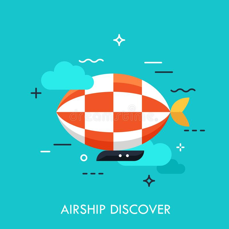 Flat icon with flat design element of horizon discoveries, inspiring dream, exploratory mission, traveling by airship, opening royalty free illustration