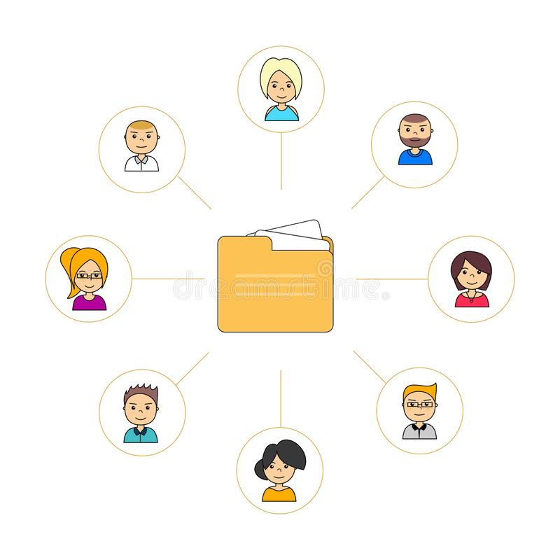 Flat icon design of shared folders with avatars stock illustration