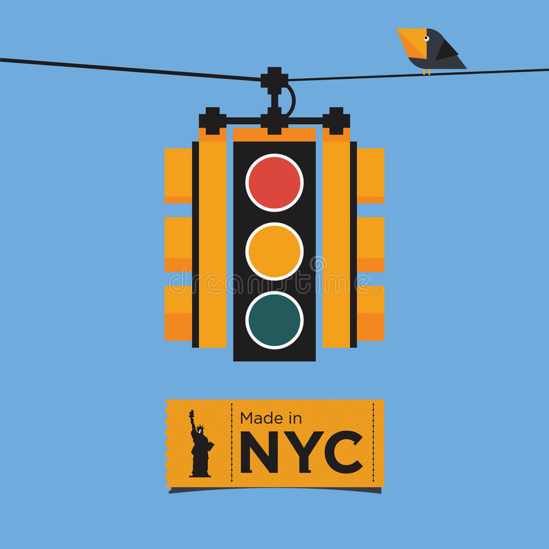 Red Light Camera Check: Flat Icon Design Of Traffic Light, New York, Vect Stock
