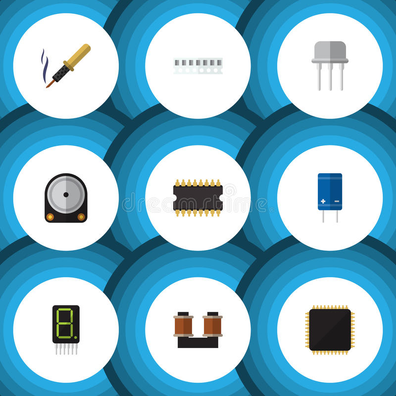 Flat Icon Device Set Of Microprocessor, Hdd, Repair And Other Vector Objects. Also Includes Cpu, Electronics, Fiildistor stock illustration