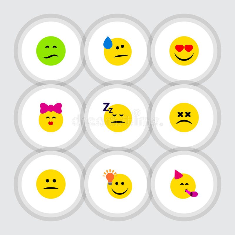 Flat Icon Emoji Set Of Love, Asleep, Tears And Other Vector Objects. Also Includes Displeased, Smile, Heart Elements. royalty free illustration