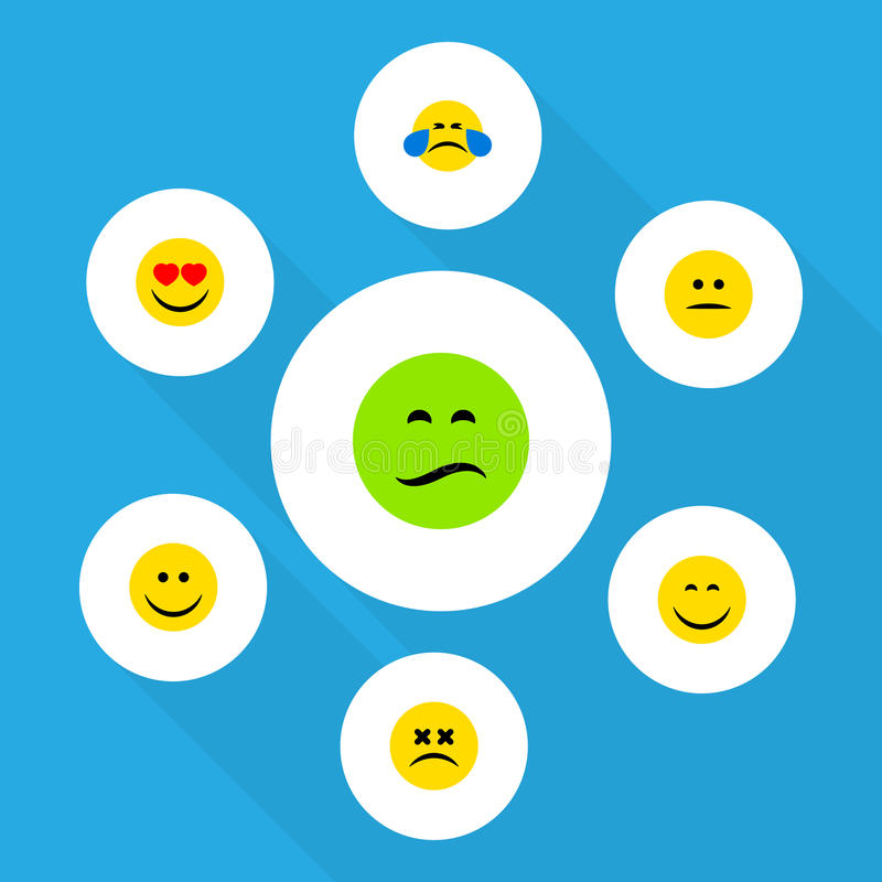 Flat Icon Emoji Set Of Love, Frown, Smile And Other Vector Objects. Also Includes Dizzy, Mood, Joy Elements. Flat Icon Emoji Set Of Love, Frown, Smile And Other stock illustration
