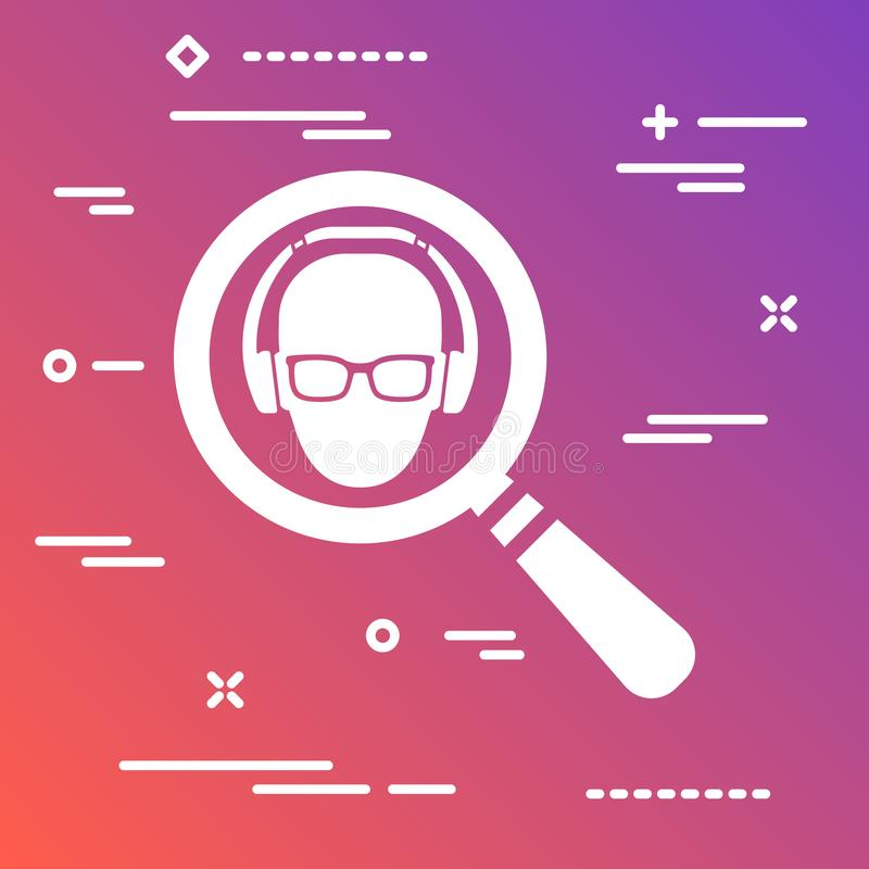 Flat icon in the form of a magnifying glass marketer looking for. A targeted user in glasses and headphones on colorful modern gradient background stock illustration