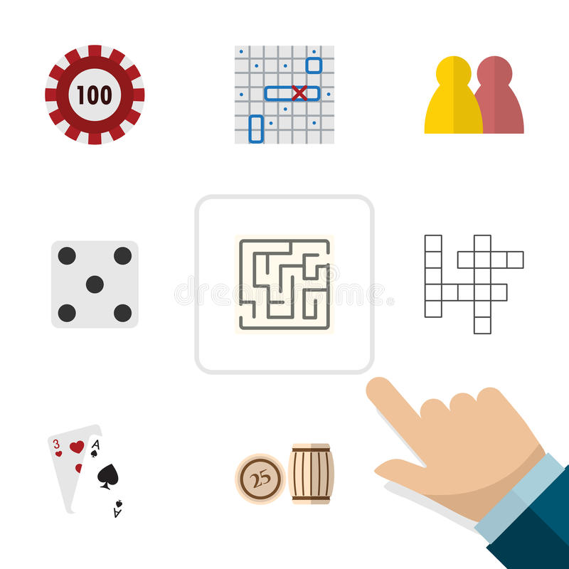 Flat Icon Games Set Of Labyrinth, Guess, Ace And Other Vector Objects. Also Includes Lost, Multiplayer, Play Elements. stock illustration