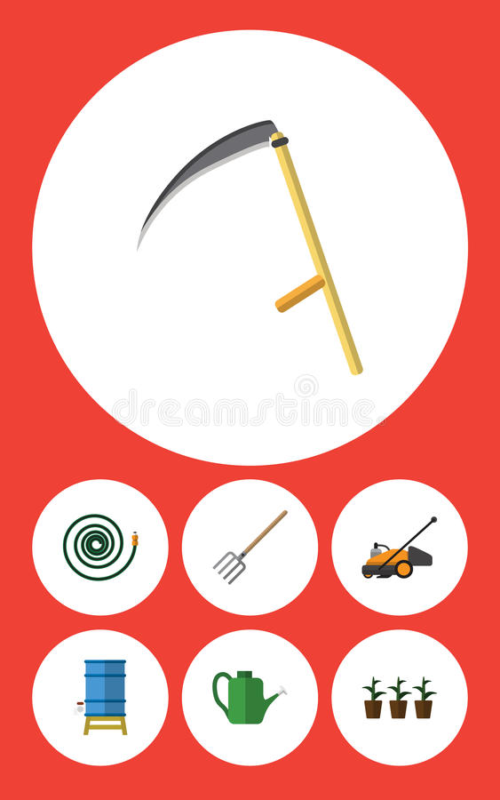 Flat Icon Garden Set Of Hosepipe, Hay Fork, Lawn Mower And Other Vector Objects. Also Includes Fork, Tool, Pitchfork royalty free illustration