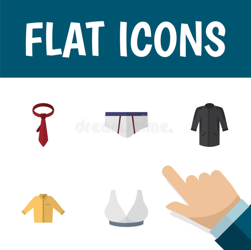 Flat Icon Garment Set Of Banyan, Brasserie, Underclothes And Other Vector Objects. Also Includes Underwear, Necktie royalty free illustration
