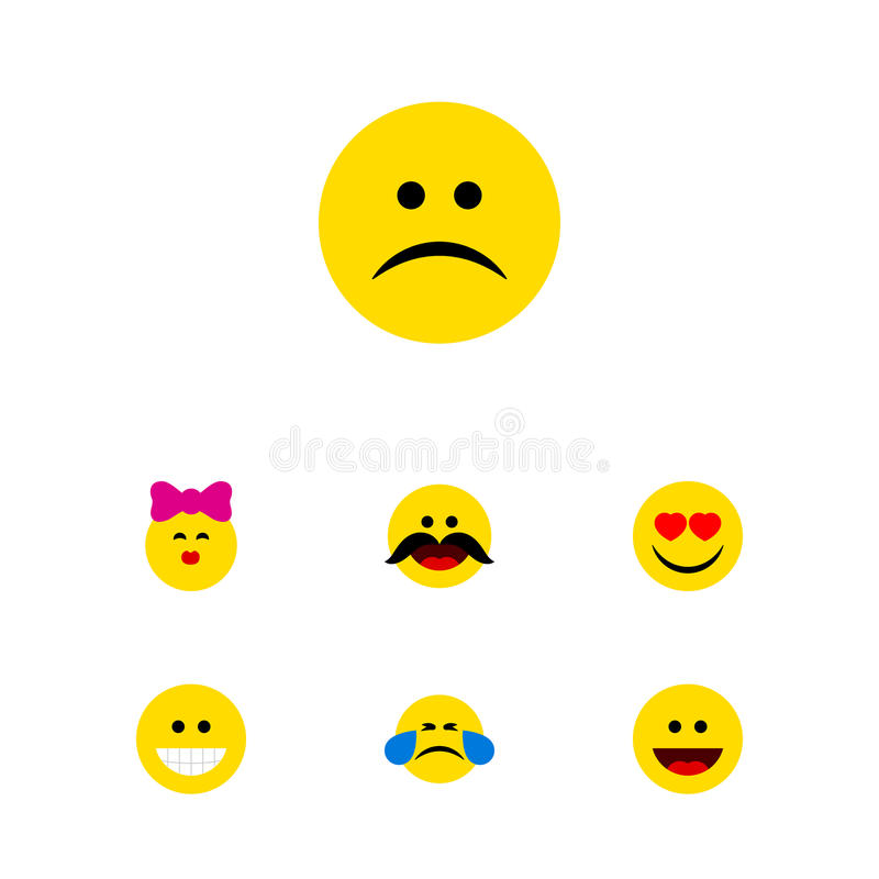 Flat Icon Gesture Set Of Sad, Laugh, Caress And Other Vector Objects. Also Includes Emoji, Sad, Kiss Elements. stock illustration