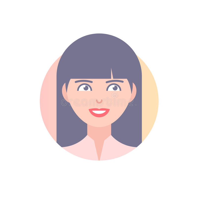 Flat icon of girl's face. royalty free illustration