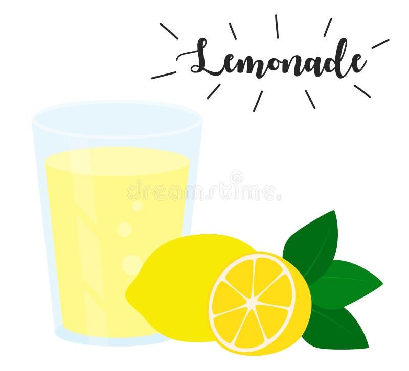 Glass of lemonade and lemon vector illustration