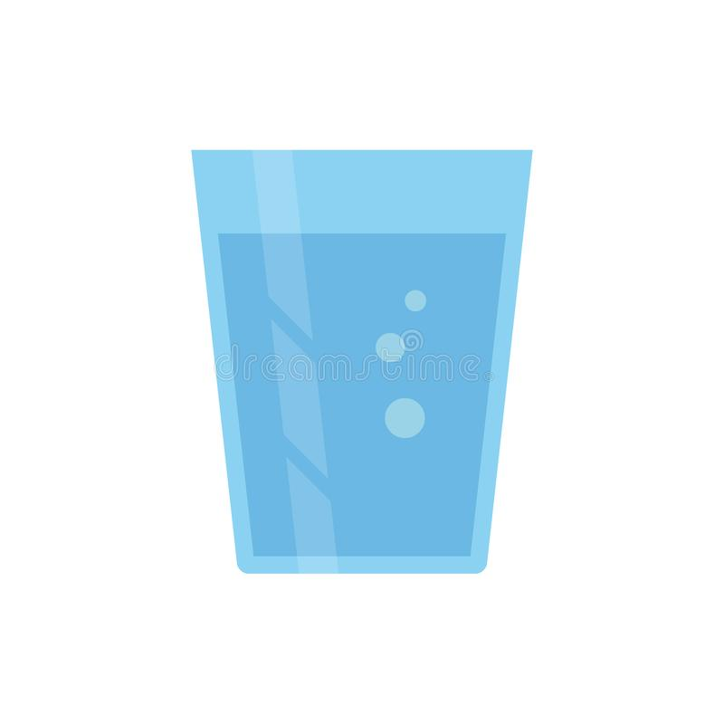 Flat icon glass of water stock illustration