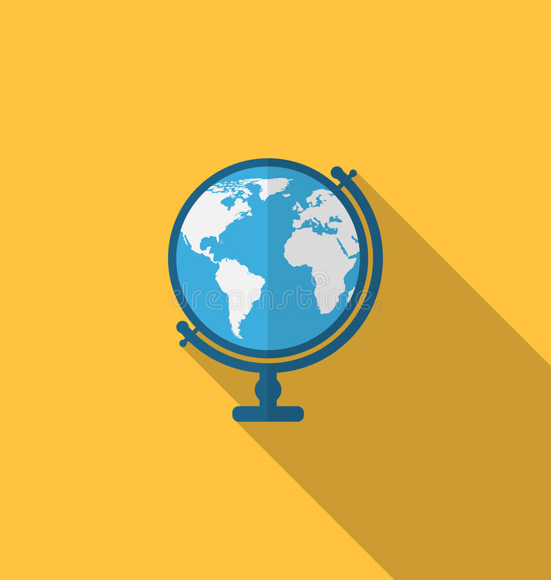 Flat icon of globe with long shadow style. Illustration flat icon of globe with long shadow style - vector stock illustration