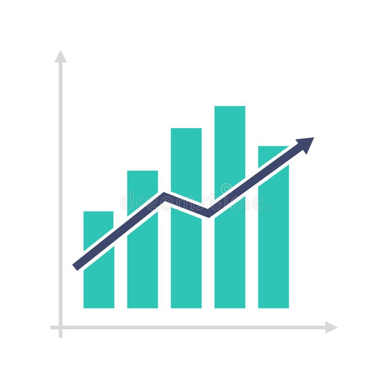 Flat icon graph with up arrow stock image