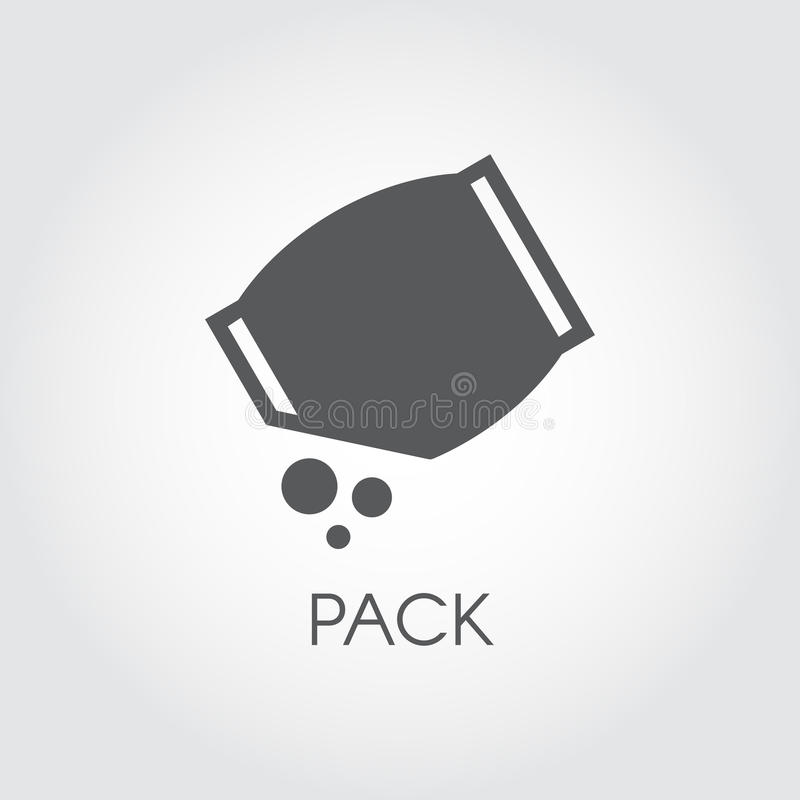 Flat icon of grocery pack with abstract bulk ingredient. Culinary concept. Vector black logo vector illustration