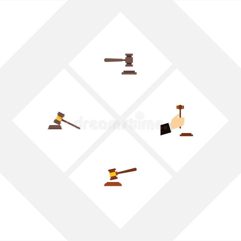 Flat Icon Hammer Set Of Court, Law, Legal And Other Vector Objects. Also Includes Hammer, Crime, Law Elements. Flat Icon Hammer Set Of Court, Law, Legal And vector illustration