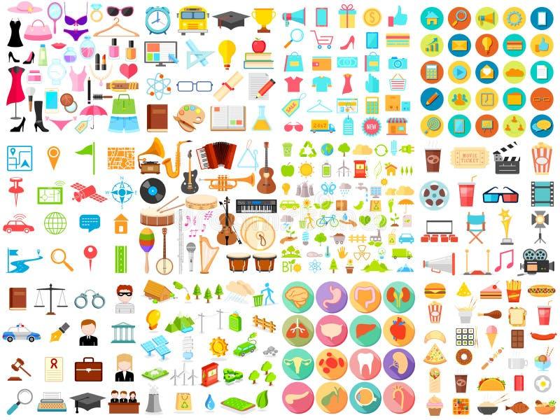 Flat Icon jumbo collection royalty free illustration