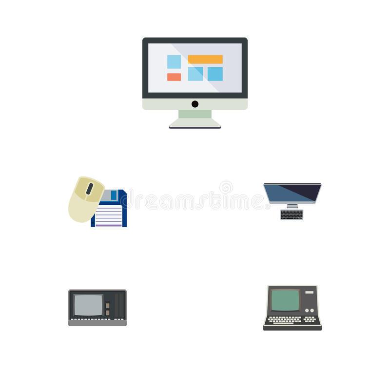 Flat Icon Laptop Set Of PC, Vintage Hardware, Technology And Other Vector Objects. Also Includes Screen, Floppy stock illustration