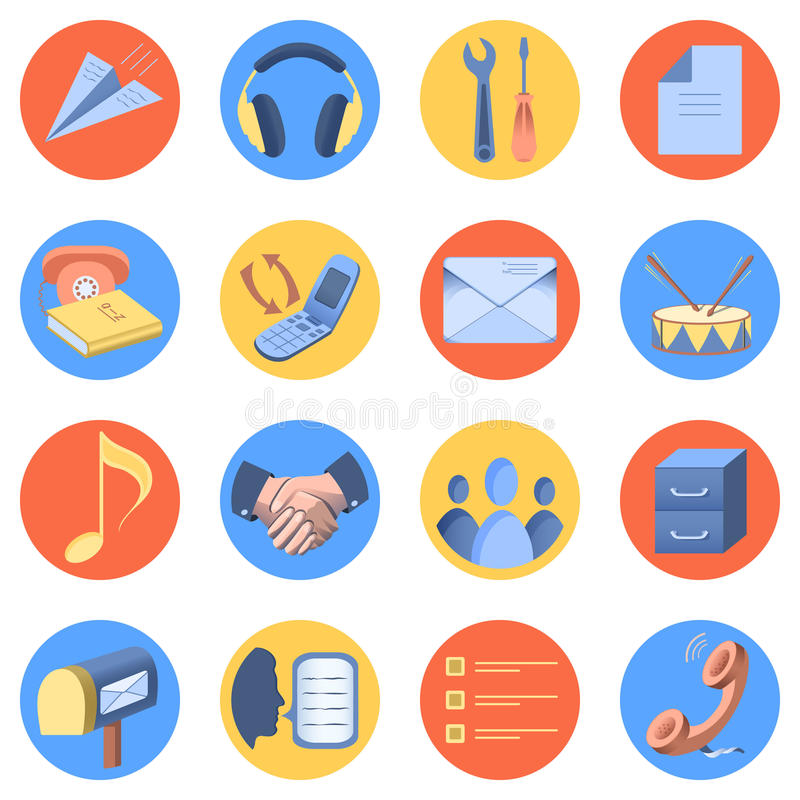 Flat icon modern set for mobile interface. 16 pieces, circle shape, isolated on white background royalty free illustration