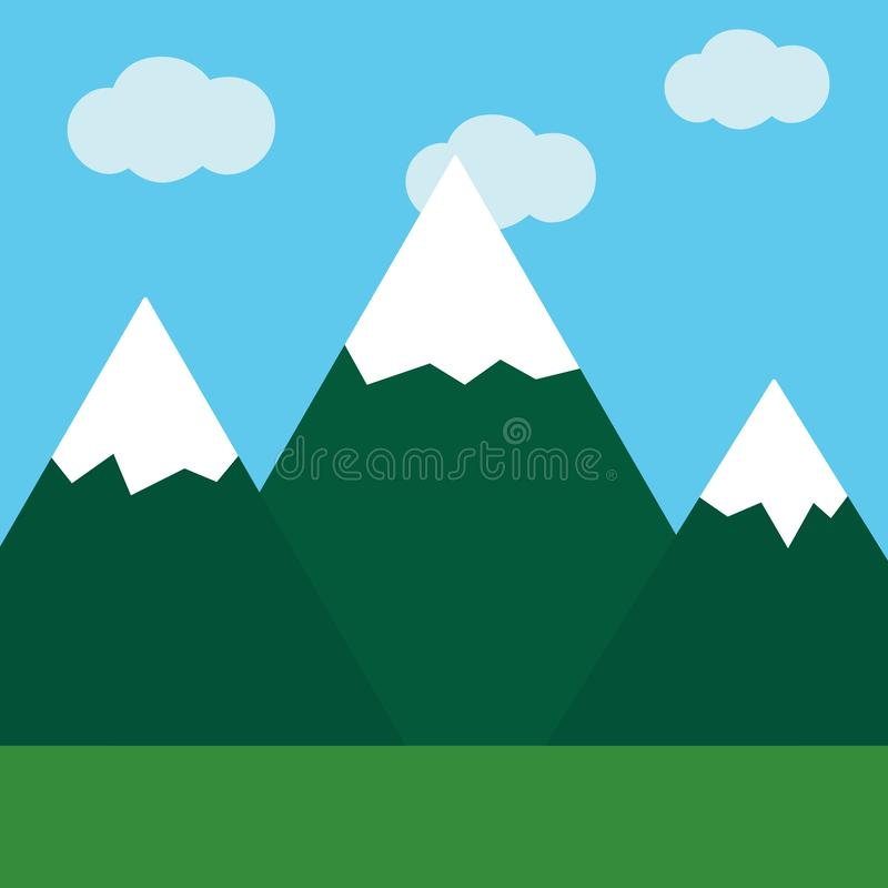 Flat icon mountain landscape royalty free illustration