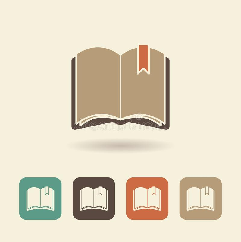 Flat icon of an open book. Vector logo stock illustration