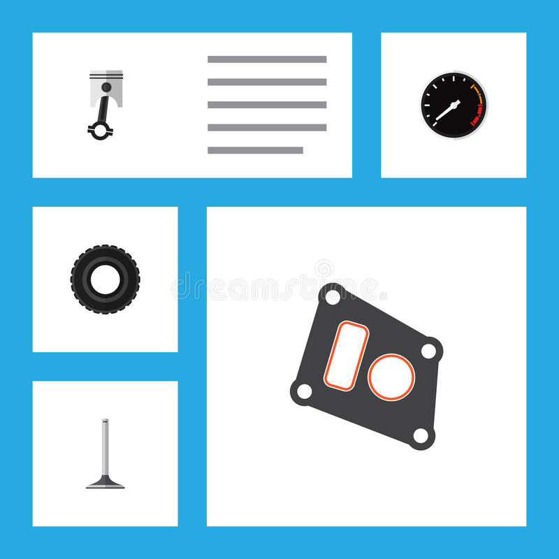 Flat Icon Parts Set Of Conrod, Tachometr, Gasket And Other Vector Objects. Also Includes Conrod, Speed, Speedometer stock illustration
