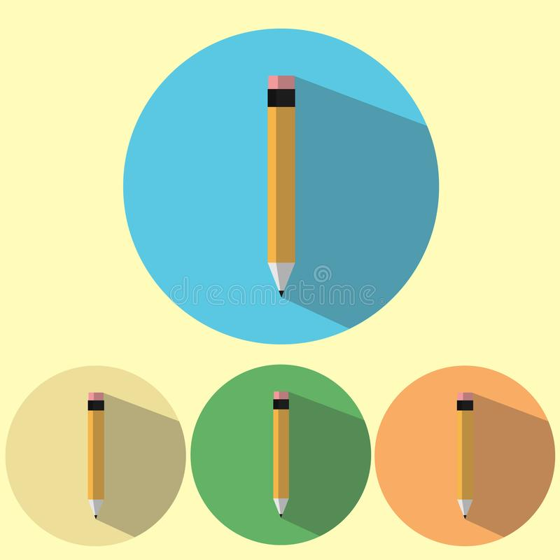 Flat icon pencil set with long shadow. stock photos