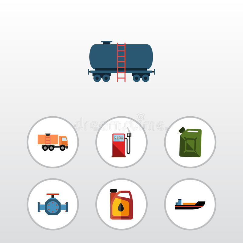 Flat Icon Petrol Set Of Boat, Flange, Jerrycan And Other Vector Objects. Also Includes Fuel, Oil, Tanker Elements. stock illustration
