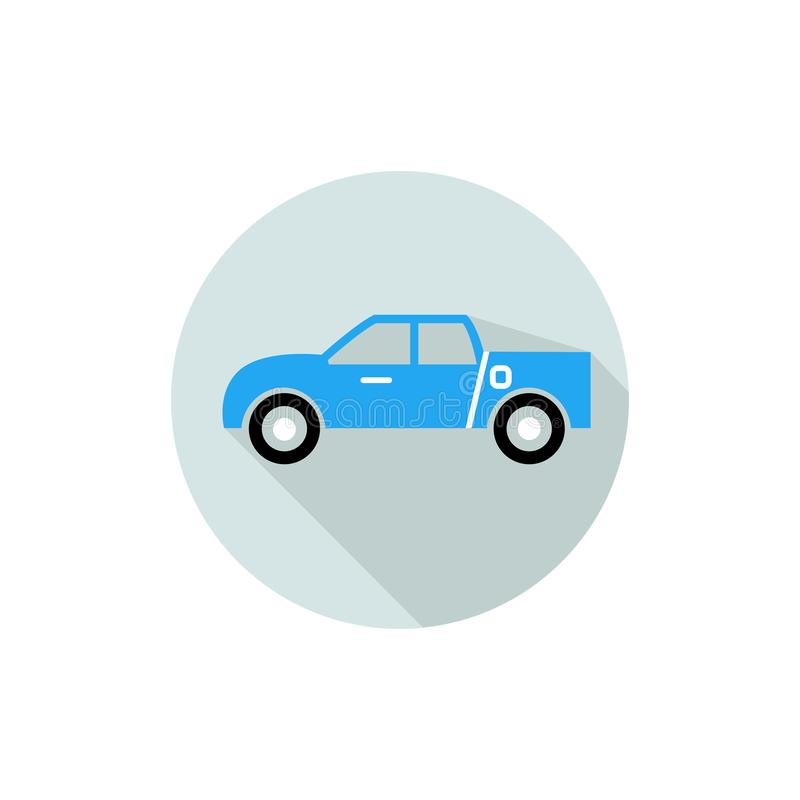 Flat icon for pickup truck in blue background,vector illustrations stock illustration