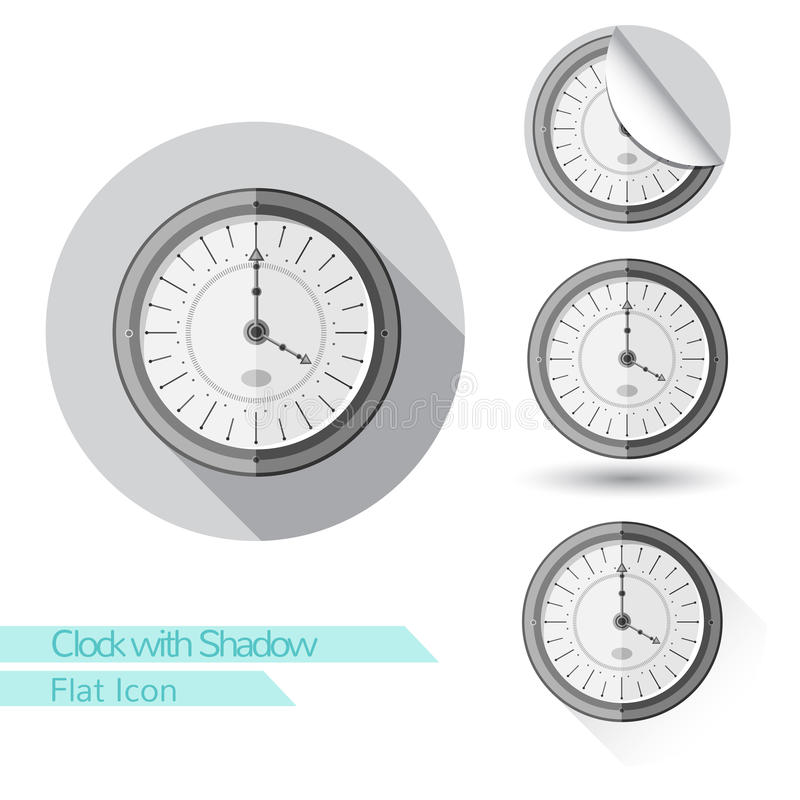 Flat icon round clock with shadow stock illustration