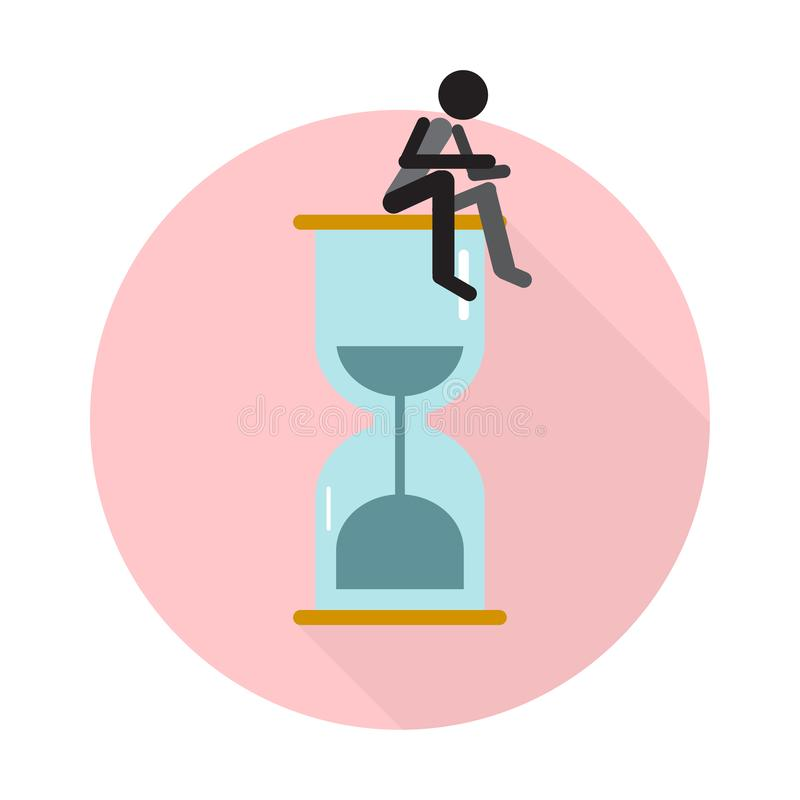 Flat icon for sand clock and man sitting,vector illustrations royalty free illustration