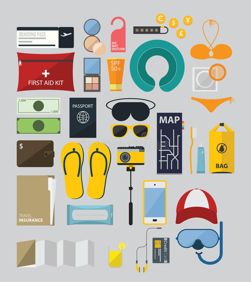Flat Icon Set of Backpack Travel on Summer Holiday vector illustration
